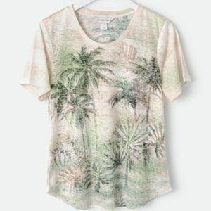 Christopher & Banks Palm Oasis Print Tee Petite XL